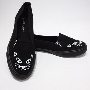 Hot Topic canvas black cat slip-ons
